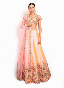 sonascouture - Graceful Silk Lengha With Floral Pattern BW108