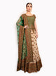 sonascouture - Traditional Green And Gold Lengha BW113