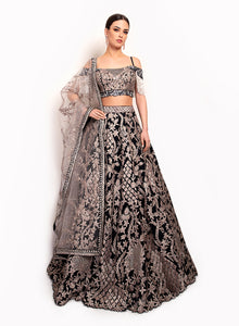 Navy Lengha With Modern Style Top BW117 - Sonas Haute Couture