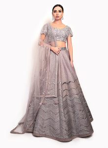 sonascouture - Silver Lengha Detailed With A Modern Pattern BW118
