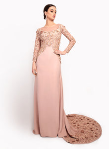 sonascouture - Elegant Nude Pink Trail Gown GW007