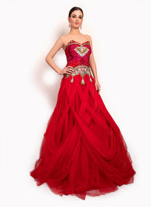 Striking Red Gown GW011 - Sonas Haute Couture