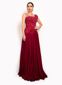 sonascouture - Maroon One-Shoulder Gown GW012