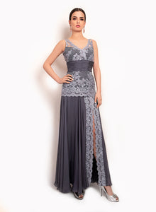 sonascouture - Charcoal Grey Lace Gown GW018