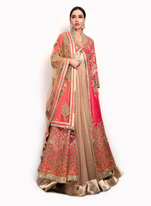sonascouture - Gown With A Coral Raw Silk Jacket GW023