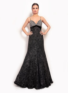 sonascouture - Black Strappy Gown GW028