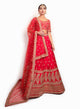 sonascouture - Classic Red Raw Silk Lengha BW123