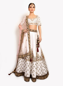sonascouture - Ivory Lengha With Beautiful Pastel Embroidery BW126