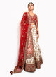 sonascouture - Traditional Red Velvet And Ivory Silk Lengha BW127