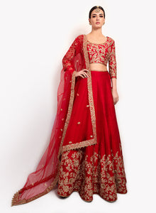 Raw Silk Red Bridal Lengha BW128 - Sonas Haute Couture