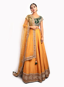 sonascouture - Classy Mustard And Emerald Lengha BW131