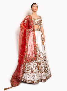 sonascouture - Raw Silk White And Red Lengha BW138