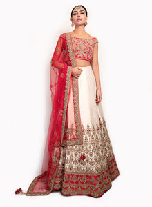 Red Boat Neck Top With Ivory And Red Lengha BW139 - Sonas Haute Couture