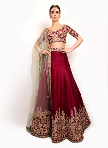 sonascouture - Aubergine And Apple Green Lengha BW140