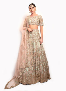 Light Jade Green And Dusty Pink Bridal Lengha BW143 - Sonas Haute Couture