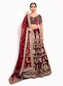 sonascouture - Classic Style Maroon Lengha BW145