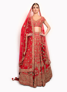 sonascouture - Silk Red Lengha Detailed With Gold Zardozi Work BW146