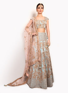 English Blue And Pink Velvet Lengha BW148 - Sonas Haute Couture