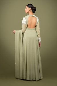 sonascouture - Olive Green Anarkali Gown GW032