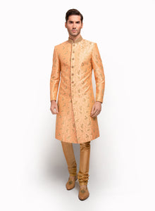 Peach Raw Silk Sherwani MM013 - Sonas Haute Couture
