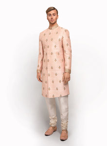sonascouture - Pale Pink Raw Silk Sherwani MM016