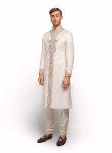 sonascouture - White Self Print Brocade Sherwani MM029