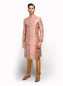 Silk Brocade Sherwani With Gold Detail MM035 - Sonas Haute Couture