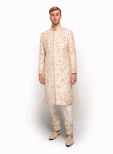 sonascouture - Raw Silk Ivory Sherwani MM036