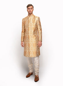 sonascouture - Silk Brocade Indo Western With Gold Pipings MM045