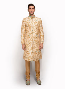 sonascouture - Gold Sherwani Fully Detailed With Floral Pattern MM052