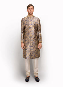 sonascouture - Printed Sherwani Detailed With Gold Threadwork MM055