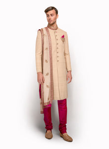 Sherwani With Thread Lines MM065 - Sonas Haute Couture