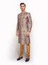 Navy Blue Silk Brocade Sherwani MM066
