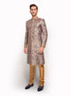 sonascouture - Navy Blue Silk Brocade Sherwani MM066