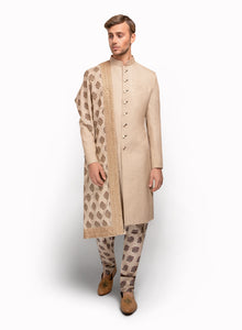 sonascouture - Gold Sherwani With Printed Churidar MM067