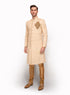 Dark Ivory Matka Silk Sherwani MM068