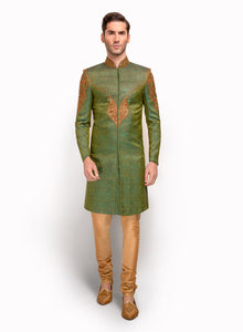 sonascouture - Green Brocade Sherwani With Embroidery MM093