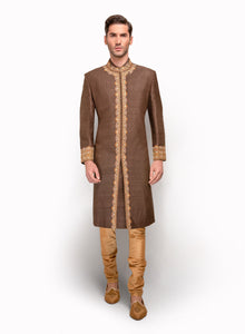 Pintex Sherwani With Gold Embroidery MM094 - Sonas Haute Couture