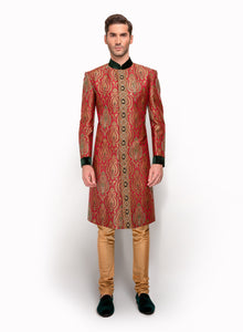 Red And Green Brocade Sherwani MM109 - Sonas Haute Couture