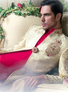 sonascouture - Gold And Red Sherwani M245