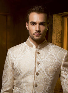 sonascouture - Ivory Brocade Indo Western M278