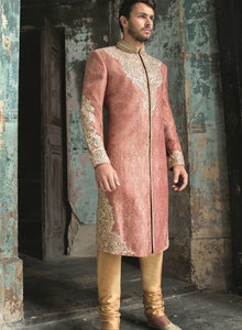sonascouture - Dark Peach And Gold Brocade Sherwani M280