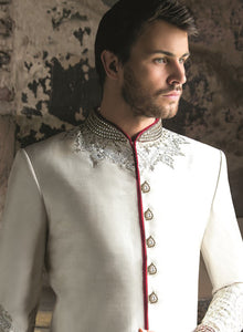 sonascouture - Ivory And Red Kunden Sherwani M284