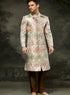 Ivory And Multi Brocade Sherwani M298