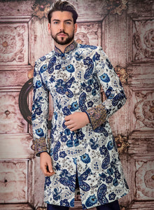 sonascouture - White And Royal Blue Sherwani M359