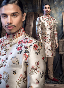 sonascouture - Ivory And Multi Printed Brocade Sherwani M362