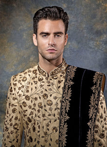 sonascouture - Floral Gold Sherwani M367