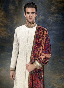 Ivory Self Threadwork Sherwani M369 - Sonas Haute Couture