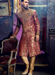 sonascouture - Brocade Red Sherwani M379