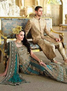 Teal Brocade Bridal W049 - Sonas Haute Couture